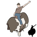 Man riding mechanical bull an image of a a Royalty Free Stock Photos