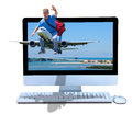 Man riding plane online booking travel agency a very happy traveler traveling is on a with his red duffel back and the is flying Stock Image