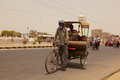Man riding rickshaw in Rajasthan Stock Photos