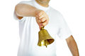 Man ringing bell in white t shirt bronze Royalty Free Stock Image