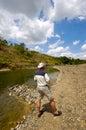 Man at river Stock Photo