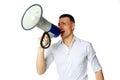 Man roaring loudly into megaphone