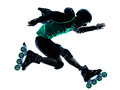 Man Roller Skater inline  Roller Blading silhouette Royalty Free Stock Photo