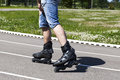 A man on roller skates Royalty Free Stock Photography