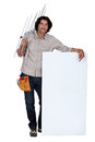 Man with a roof antenna long hair Stock Image