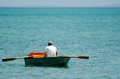 Man row dinghy Royalty Free Stock Photo