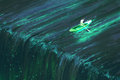 Man rowing in glowing green boat near edge of waterfall