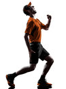 Man runner jogger running injury pain cramps silhouette one young in isolated on white background Stock Photography