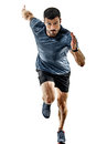 Man runner jogger running jogging isolated shadows Royalty Free Stock Photo