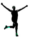 Man runner running jogging jogger silhouette one in isolated on white background Royalty Free Stock Photography