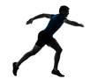 Man runner running sprinter sprinting one caucasian in silhouette studio isolated on white background Royalty Free Stock Photo