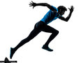 Man runner sprinter silhouette one caucasian running sprinting jogging in studio isolated on white background Royalty Free Stock Photos