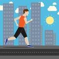 Man running in city