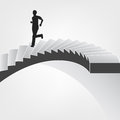 Man running down on spiral staircase vector illustration Stock Photography