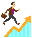 Man running on growth graph a businessman along the vector flat design illustration isolated white background Royalty Free Stock Images