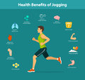 Man Running Vector Illustration. Benefits of Jogging Exercise infographics.