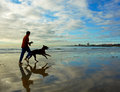 Man runs on beach with dog in south africa a takes an early morning run the his tasken at kings port elizabeth Royalty Free Stock Images
