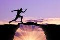 Man runs through a man lying on precipice