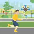 Man runs in the park.