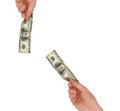 Man's hand holding a one hundred dollar bill Royalty Free Stock Photo