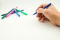 The man s hand ready to draw a picture felt tip pen Stock Images
