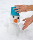 Man's hands sculpt snowman Royalty Free Stock Photos