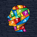 Man s head with many question Stock Photo