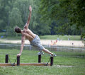 Man's outdoor summer fitness training Stock Images