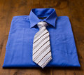 Man s shirt and tie new blue Royalty Free Stock Photos