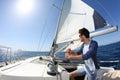 Man sailing with boat Royalty Free Stock Photo