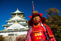 man with samuri suit at Osaka castle