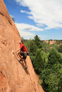 Man sandstone rock climbing Royalty Free Stock Photography