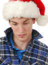 Man in a santa hat Royalty Free Stock Photo