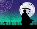 Man with scythe of halloween illustration Royalty Free Stock Photos