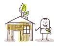 Man and self-made wood house