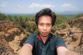Man Selfie with Doi Tok grand canyon in Mae Wang national park Royalty Free Stock Photo