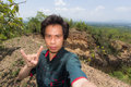 Man Selfie with Doi Tok grand canyon in Mae Wang national park, Royalty Free Stock Photo