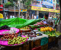 A man selling fruits on street in Kolkata, India Royalty Free Stock Photo