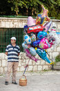 Man sells helium balloons sarajevo bosnia and herzegovina august on bascarsija the old town very popular tourist place Stock Images