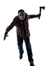 Man serial killer with mask silhouette full length one caucasian in studio isolated on white background Royalty Free Stock Photo