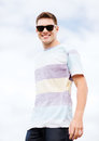 Man in shades outside summer holidays and teenage concept Royalty Free Stock Image