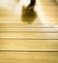 Man shadow walking through the exit at the end of the stairs Royalty Free Stock Photo