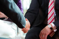 Man shaking hands with manager at job interview closeup cutout Stock Photos