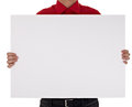 Man in shirt holding blank sign Stock Images