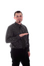 Man in shirt and tie holding out hand product placement for Royalty Free Stock Image