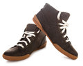Man shoes a pair of brown casual leather Royalty Free Stock Image