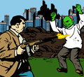 Man shooting a zombie comic book or cartoon style illustrated fat outside the city Royalty Free Stock Images