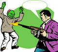 Man shooting a zombie comic book or cartoon style illustrated fat with speech bubble Royalty Free Stock Images