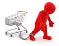 Man and shopping cart clipping path included image with Royalty Free Stock Photos
