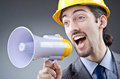Man shouting  with loudspeaker Royalty Free Stock Photography